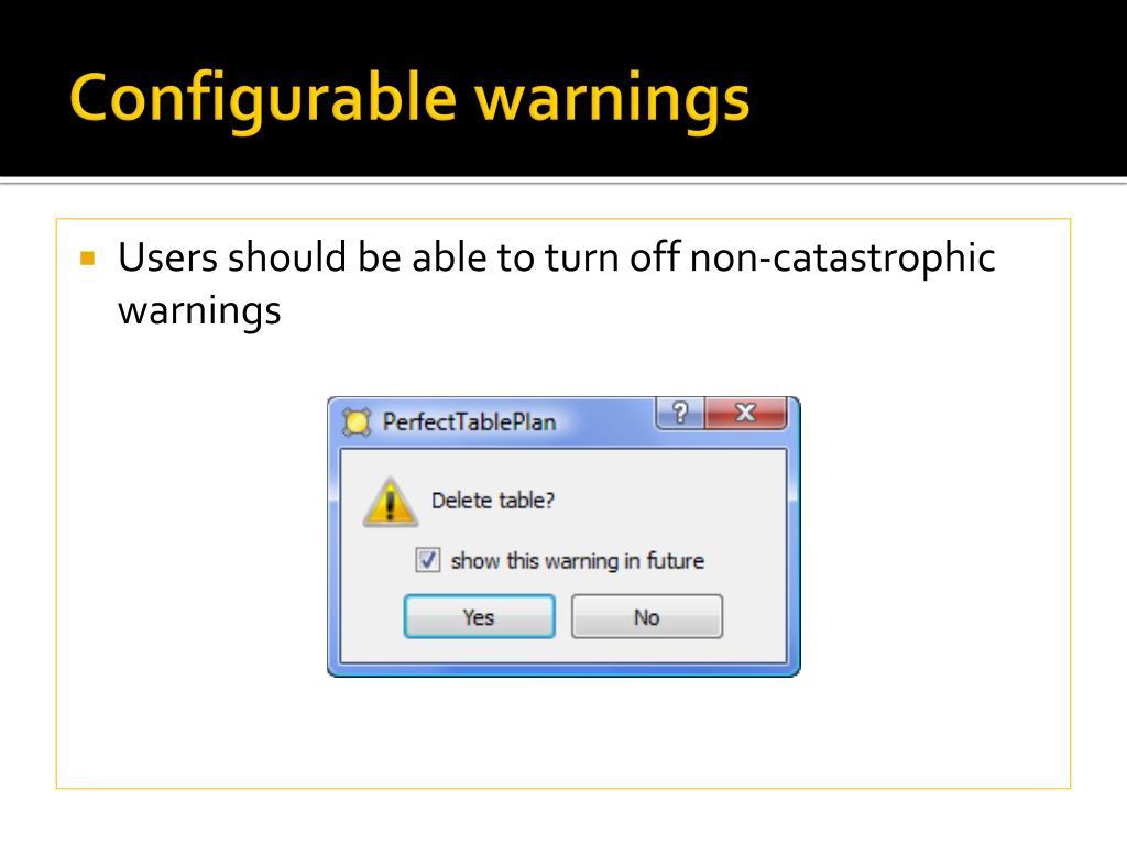 Configurable warnings