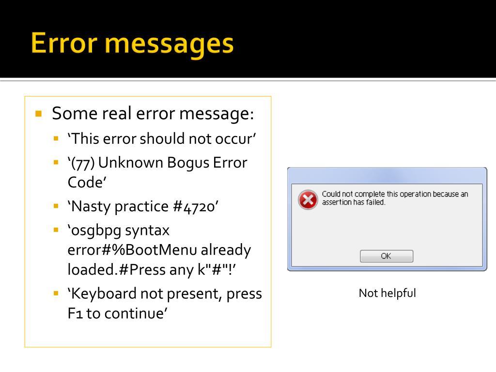 Error messages