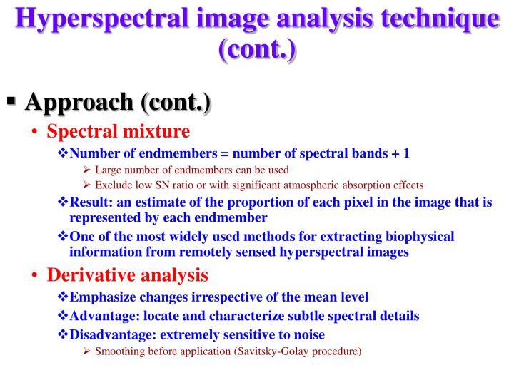 Hyperspectral image analysis technique (cont.)