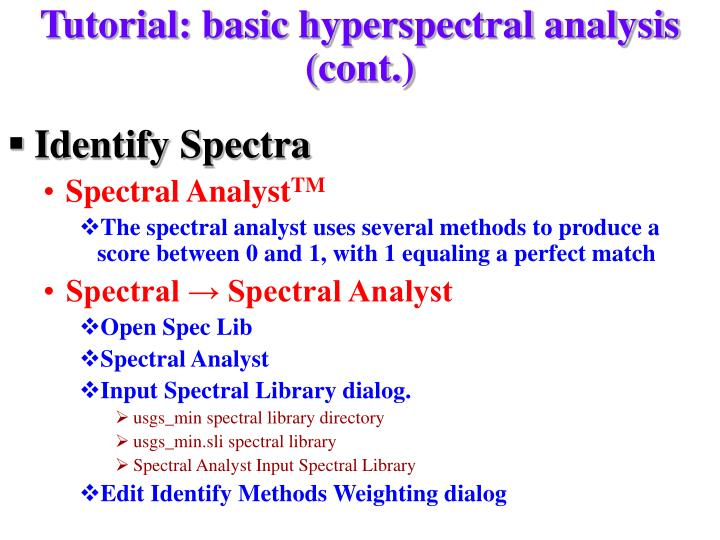 Tutorial: basic hyperspectral analysis (cont.)