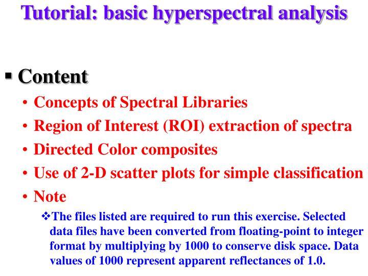 Tutorial: basic hyperspectral analysis