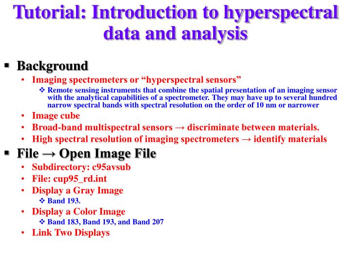 Tutorial: Introduction to hyperspectral data and analysis