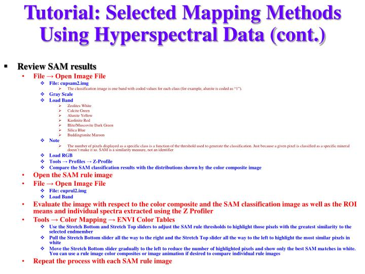 Tutorial: Selected Mapping Methods Using Hyperspectral Data (cont.)