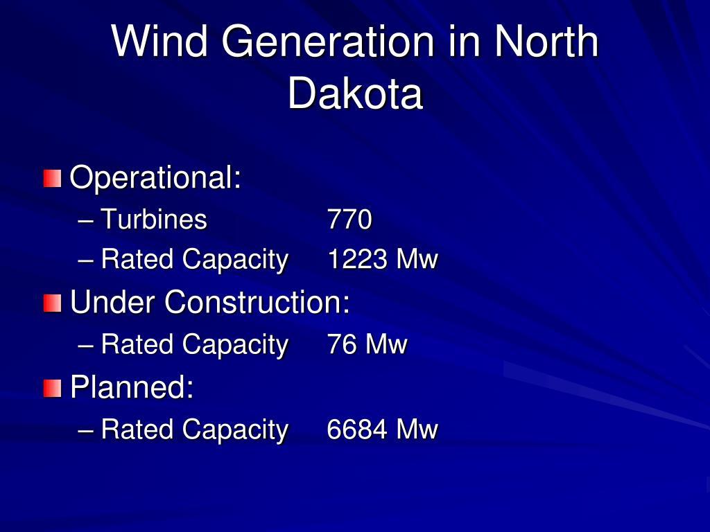 Wind Generation in North Dakota