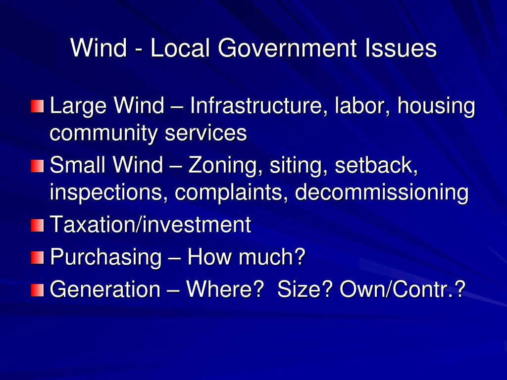 Wind - Local Government Issues