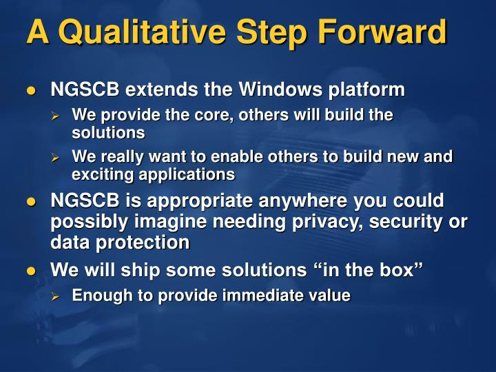 A Qualitative Step Forward