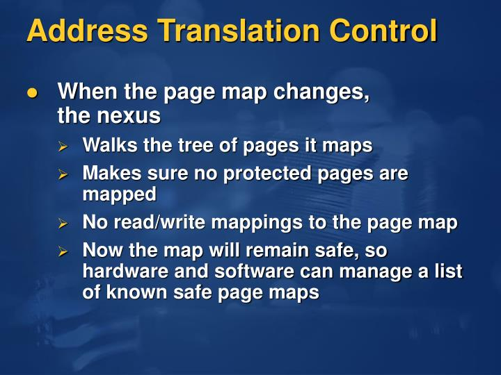 Address Translation Control