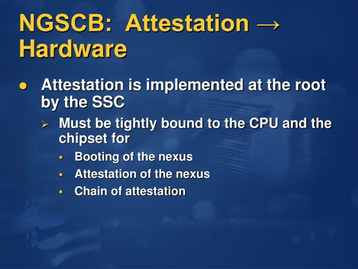 NGSCB:  Attestation → Hardware