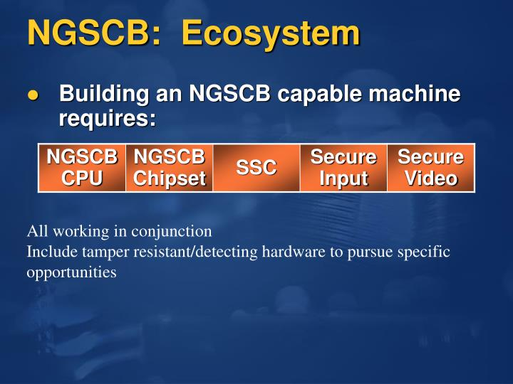 NGSCB:  Ecosystem