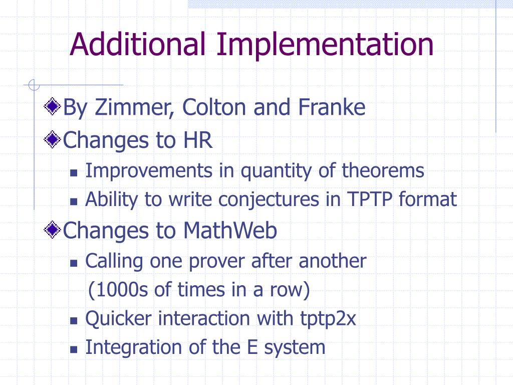 Additional Implementation
