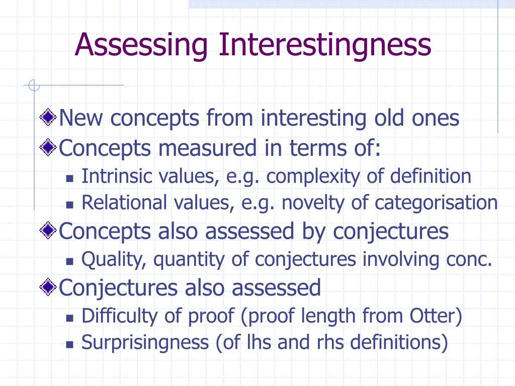 Assessing Interestingness