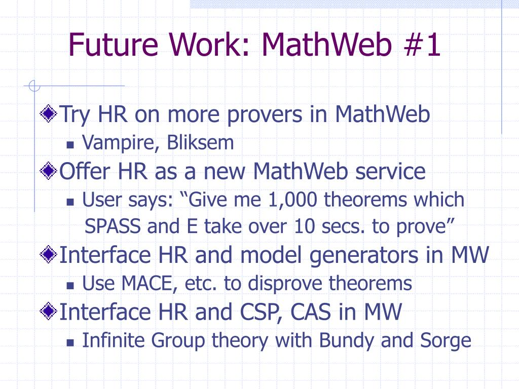 Future Work: MathWeb #1
