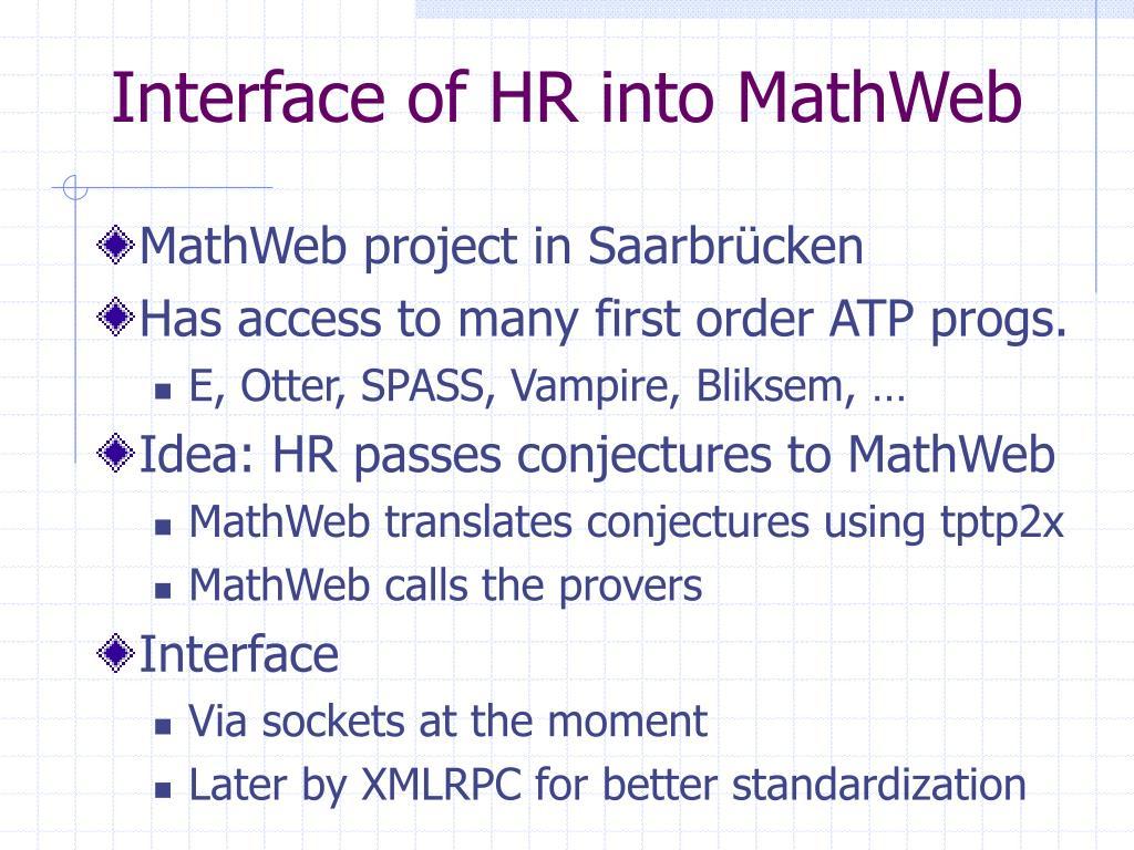 Interface of HR into MathWeb