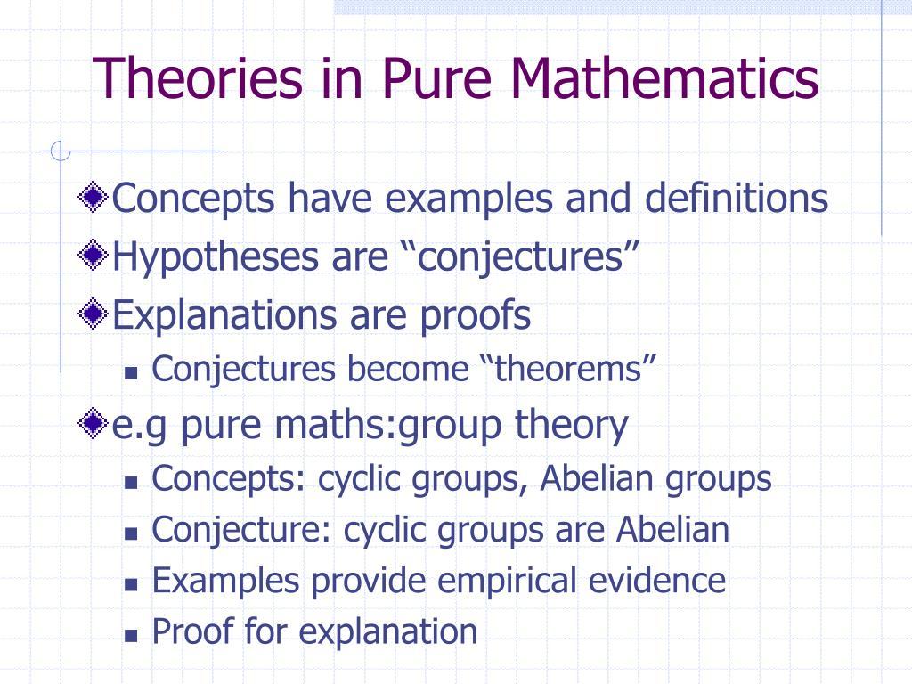 Theories in Pure Mathematics