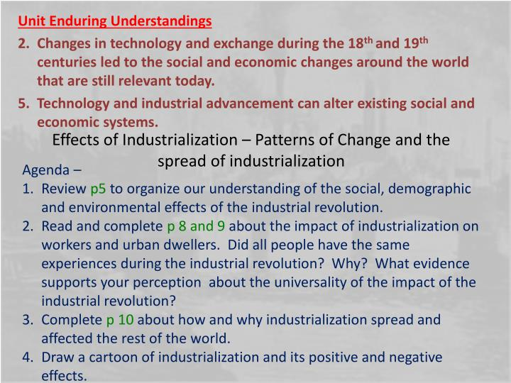 Effects of Industrialization – Patterns of