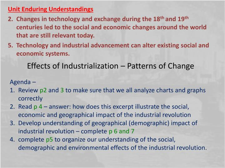 Effects of industrialization patterns of change