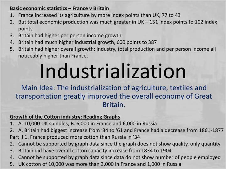 Basic economic statistics – France v Britain