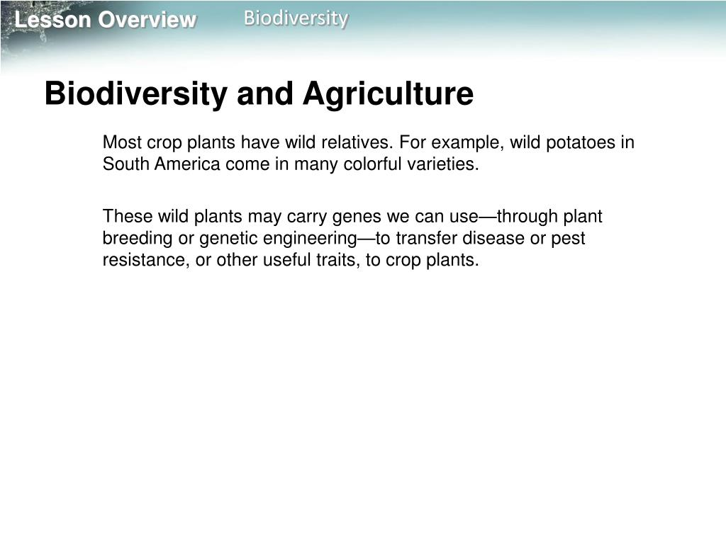 Biodiversity and Agriculture