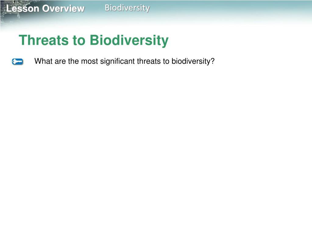 Threats to Biodiversity