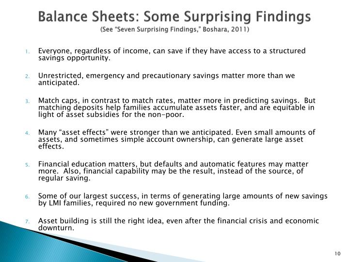 Balance Sheets: Some Surprising Findings