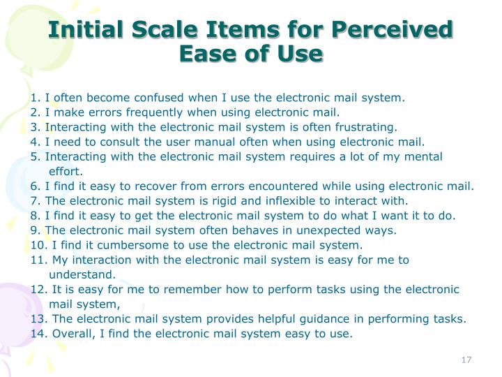 Initial Scale Items for Perceived Ease of Use