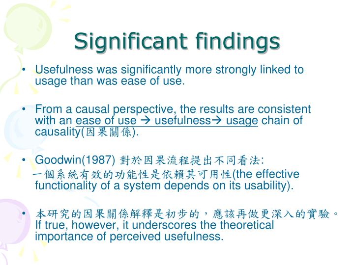 Significant findings