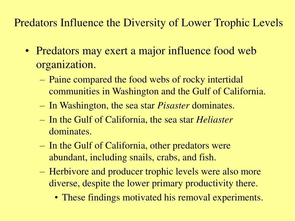 Predators Influence the Diversity of Lower Trophic Levels