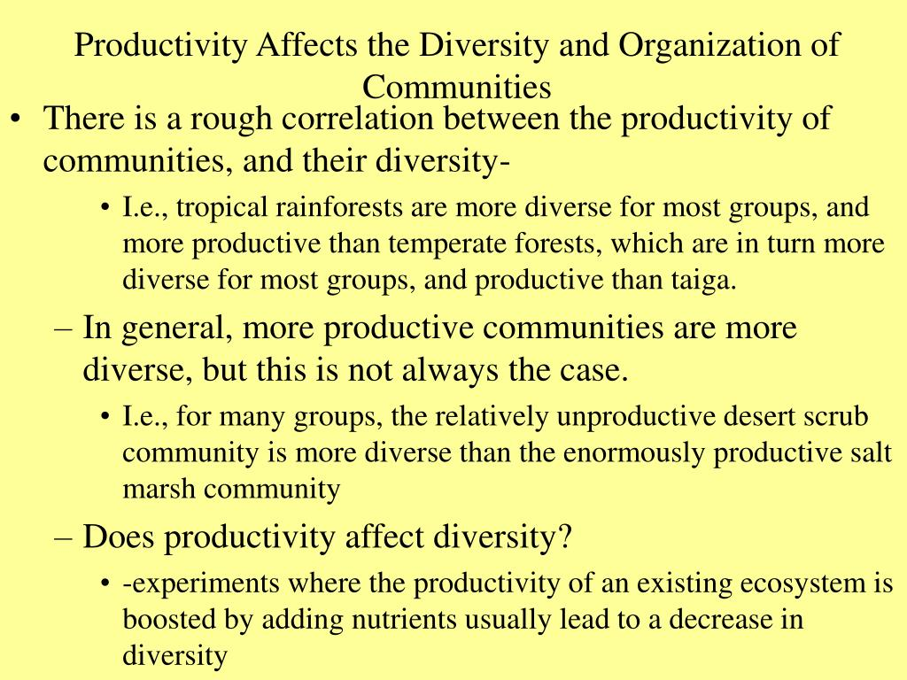 Productivity Affects the Diversity and Organization of Communities
