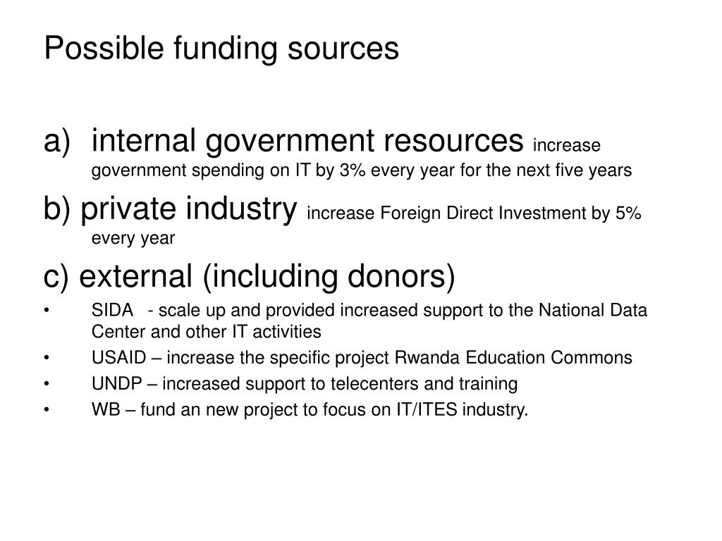 Possible funding sources