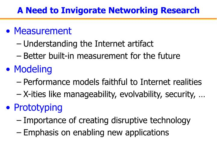A need to invigorate networking research