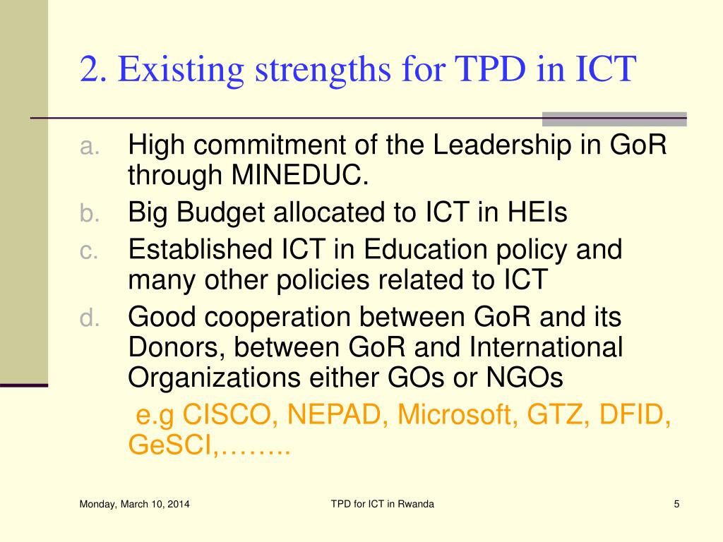 2. Existing strengths for TPD in ICT