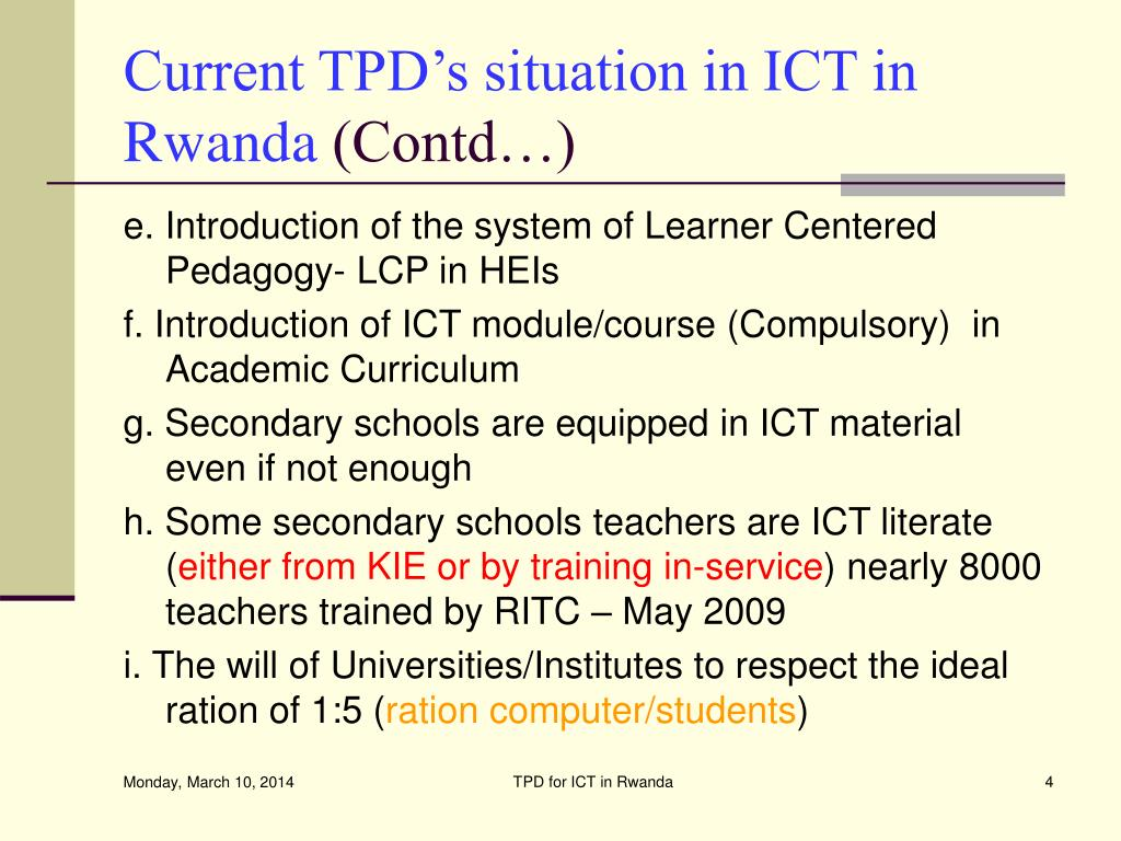 Current TPD's situation in ICT in  Rwanda