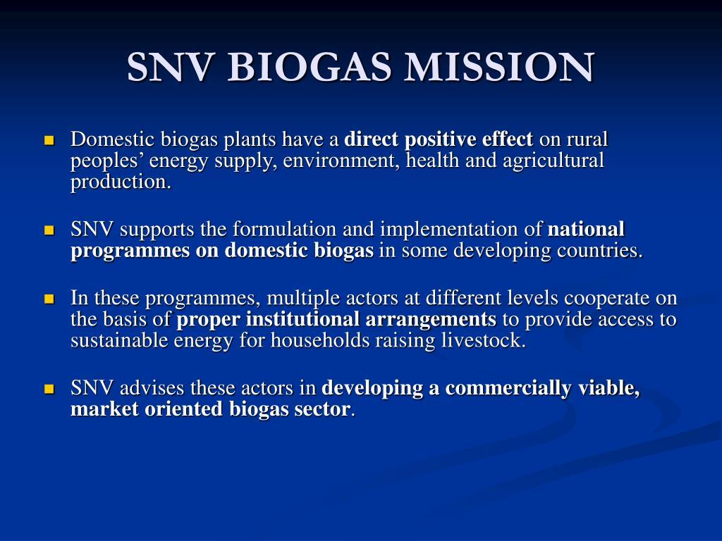 SNV BIOGAS MISSION