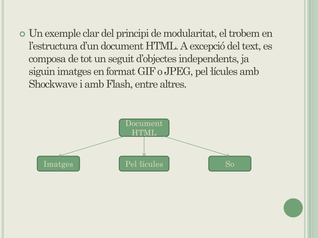 Un exemple clar del principi de modularitat, el trobem en l'estructura d'un document HTML. A excepció del text, es composa de tot un seguit d'objectes independents, ja siguin imatges en format GIF o JPEG, pel·lícules amb Shockwave i amb Flash, entre altres.