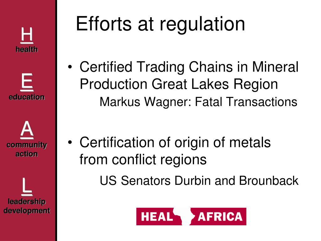 Efforts at regulation