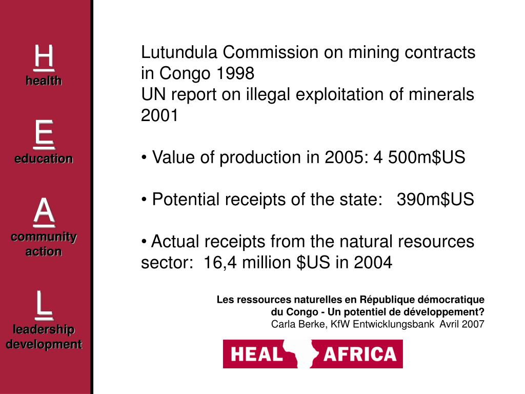 Lutundula Commission on mining contracts in Congo 1998