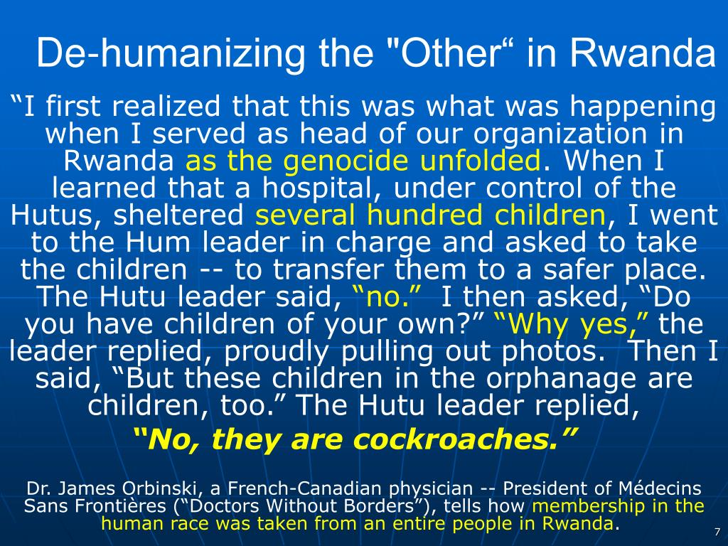 "De-humanizing the ""Other"" in Rwanda"
