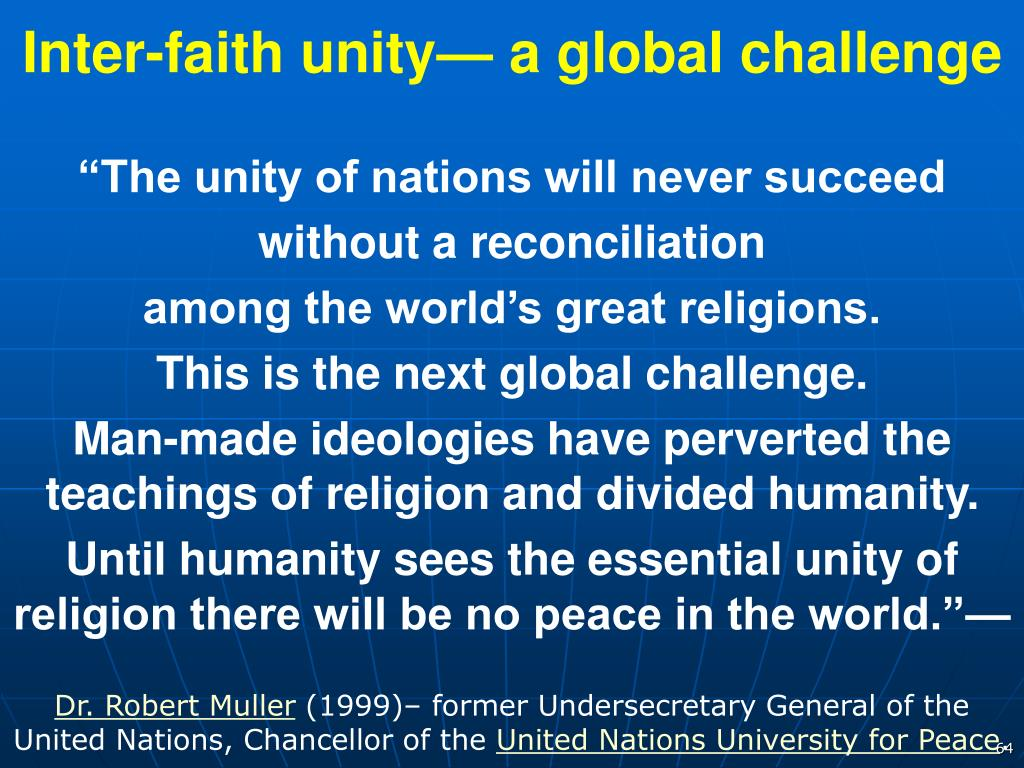 Inter-faith unity— a global challenge