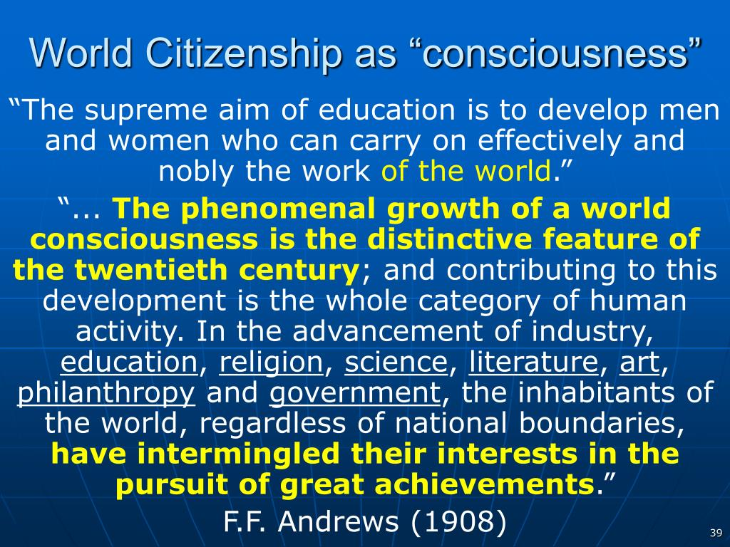 "World Citizenship as ""consciousness"""