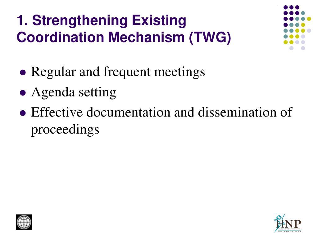 1. Strengthening Existing Coordination Mechanism (TWG)