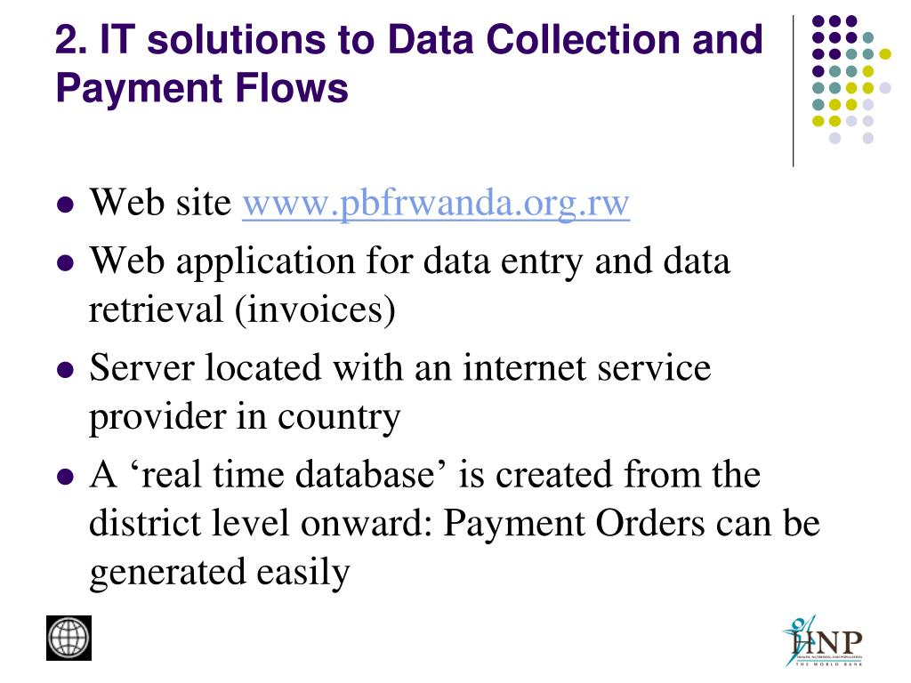 2. IT solutions to Data Collection and Payment Flows