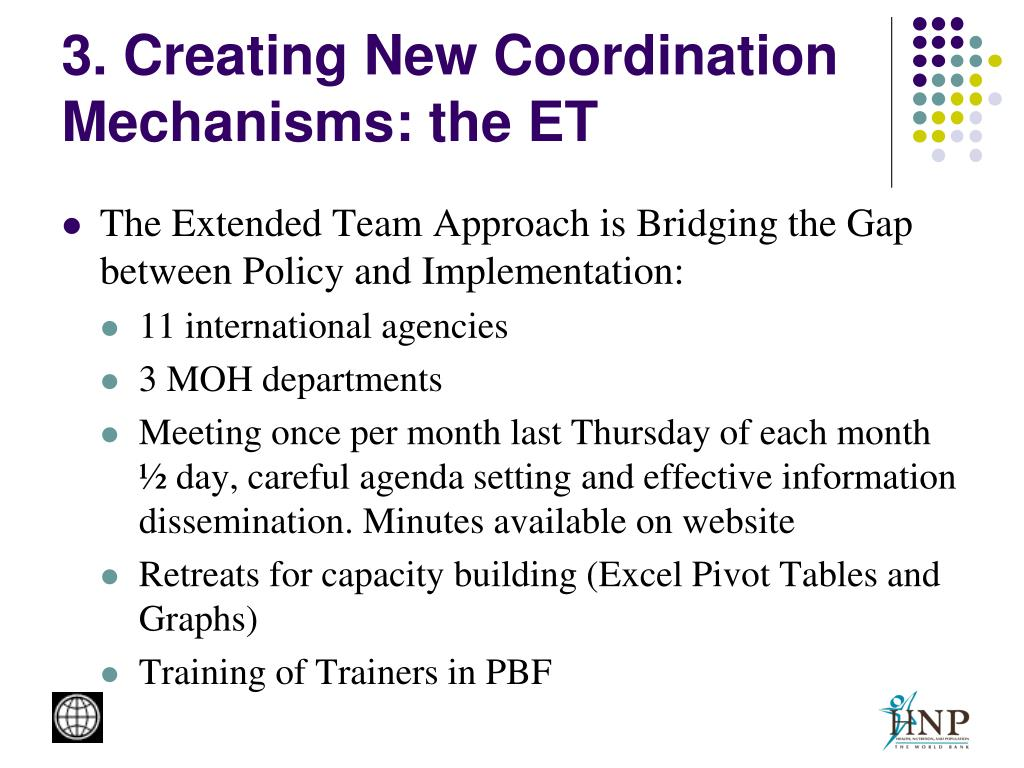 3. Creating New Coordination Mechanisms: the ET