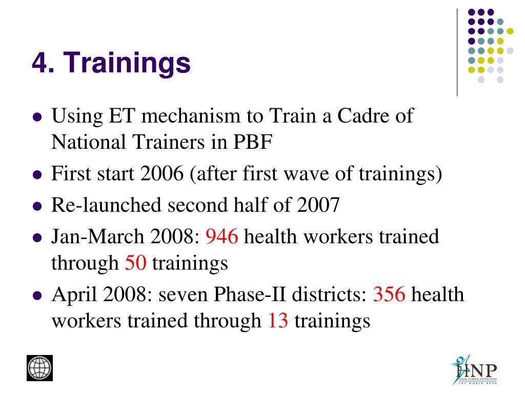 4. Trainings