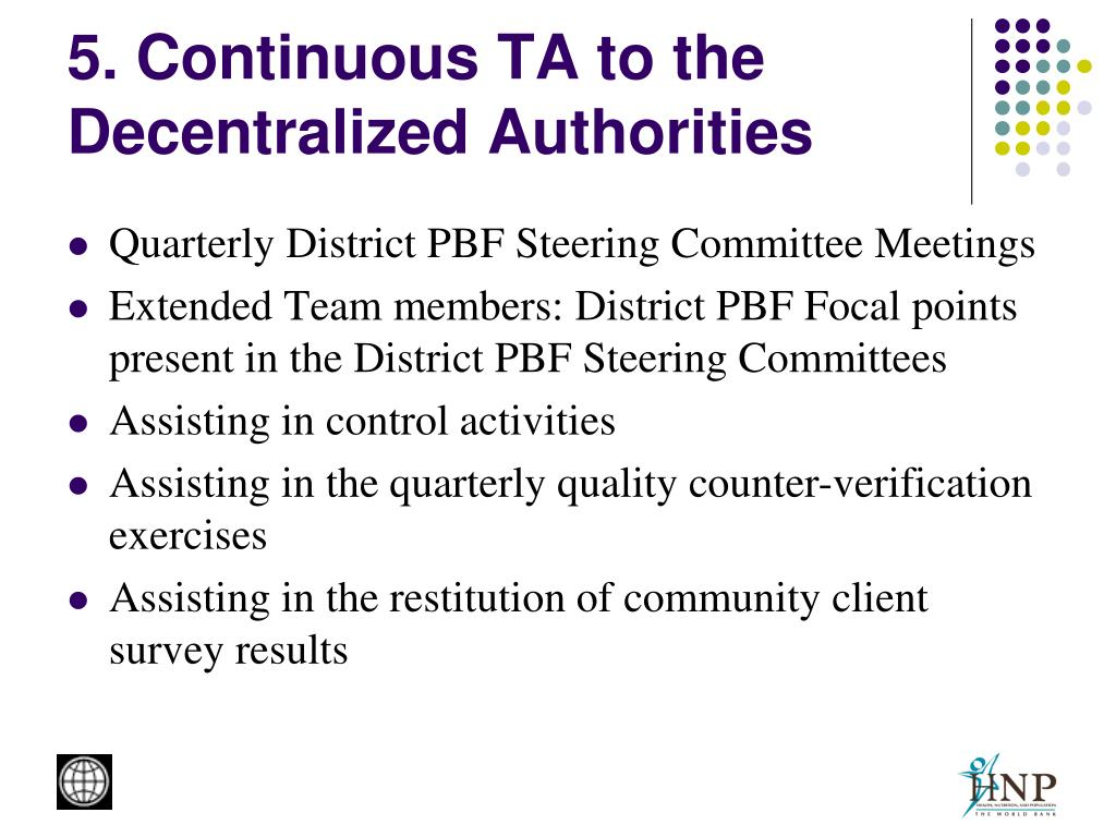 5. Continuous TA to the Decentralized Authorities
