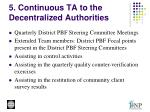 5 continuous ta to the decentralized authorities