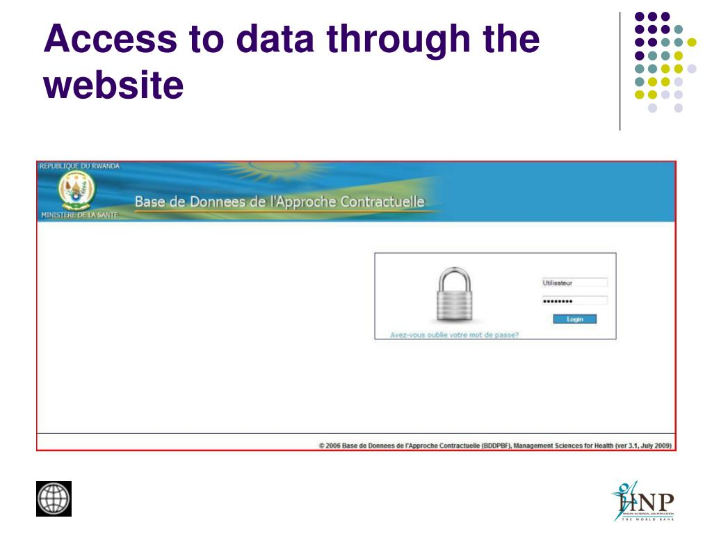 Access to data through the website