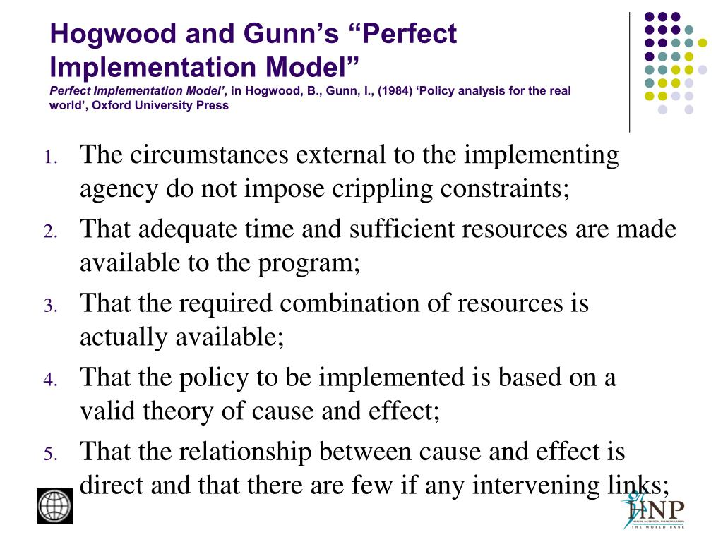"Hogwood and Gunn's ""Perfect Implementation Model"""