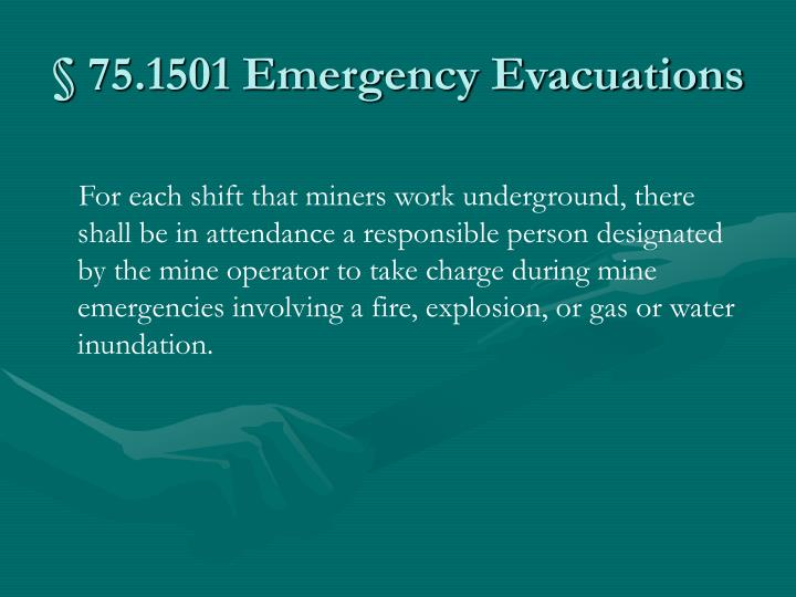 75 1501 emergency evacuations