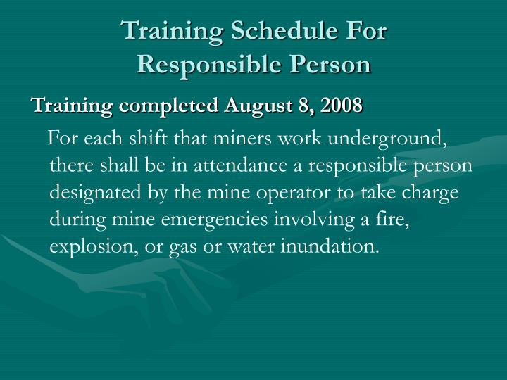 Training Schedule For
