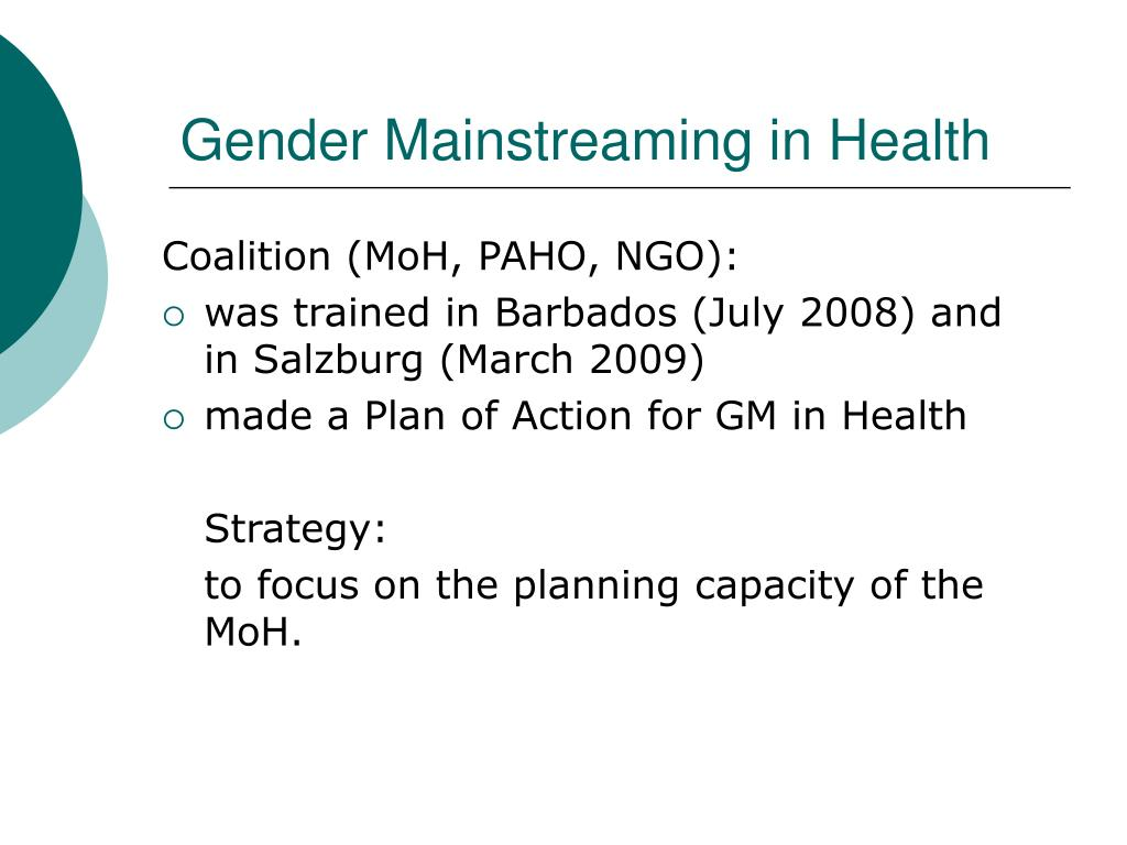 Gender Mainstreaming in Health